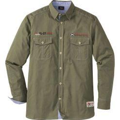 Koszula z długim rękawem Regular Fit bonprix ciemnooliwkowy. Białe koszule męskie marki bonprix, z klasycznym kołnierzykiem, z długim rękawem. Za 74,99 zł.
