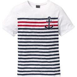 T-shirty męskie z nadrukiem: T-shirt Slim Fit bonprix biały z nadrukiem