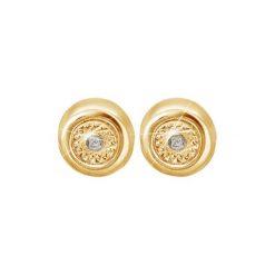 Kolczyki damskie: Kolczyki w kolorze złotym z diamentem