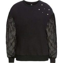 Bluzy damskie: Bluza z koronkowymi rękawami bonprix czarny