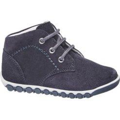 Buciki dziecięce Bobbi-Shoes granat. Niebieskie buciki niemowlęce chłopięce Bobbi-Shoes, z materiału, na sznurówki. Za 89,90 zł.
