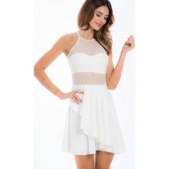 Kremowa sukienka w grochy przezroczysta TA6121. Białe sukienki Fasardi, l, w grochy. Za 59,00 zł.
