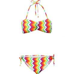 Bikini bandeau (2 części) bonprix zielono-biało-żółty wzorzysty. Białe bikini bonprix. Za 69,99 zł.