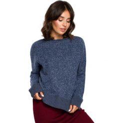 Niebieski Kimonowy Sweter z Kontrastowymi Mankietami. Niebieskie swetry oversize damskie Molly.pl, uniwersalny, z dzianiny. Za 105,90 zł.