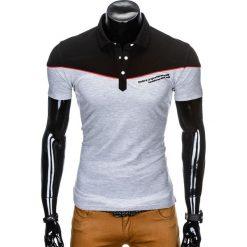 KOSZULKA MĘSKA POLO BEZ NADRUKU S878 - CZARNA/SZARA. Czarne koszulki polo marki Ombre Clothing, m, z nadrukiem. Za 39,00 zł.