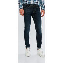 Pepe Jeans - Jeansy Finsbury. Niebieskie jeansy męskie skinny Pepe Jeans, z aplikacjami, z bawełny. Za 399,90 zł.