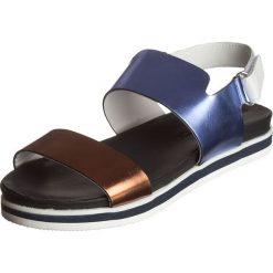 """Rzymianki damskie: Skórzane sandały """"Eva"""" w kolorze niebiesko-miedziano-białym"""