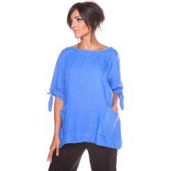 """Bluzki asymetryczne: Lniana koszulka """"Nelia"""" w kolorze niebieskim"""