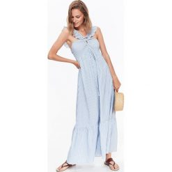 TKANINOWA DŁUGA SUKIENKA DAMSKA W PASKI W STYLU JESSICA MERCEDES. Szare długie sukienki Top Secret, na lato, s, w paski, z tkaniny, eleganckie, z długim rękawem. Za 64,99 zł.