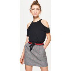 Spódniczki: Minispódnica w kratę – Szary