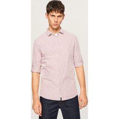 Koszula slim fit w paski - Czerwony. Czerwone koszule męskie slim Reserved, l, w paski. W wyprzedaży za 49,99 zł.