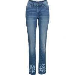 """Jeansy damskie: Dżinsy """"authentik-stretch"""", z haftem SLIM bonprix niebieski"""