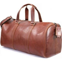 CORTEZ Koniakowa męska torba ze skóry Podróżna smooth leather. Szare torby podróżne Brødrene, ze skóry, na ramię, duże. Za 750,00 zł.