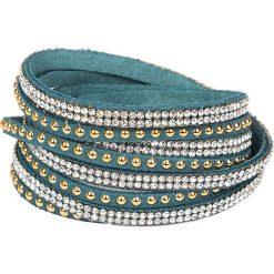 Bransoletki damskie: Skórzana bransoletka w kolorze morskim ze szklanymi kryształkami
