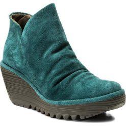 Botki FLY LONDON - Yip P500505051 Petrol. Zielone buty zimowe damskie marki Fly London, z materiału, na obcasie. W wyprzedaży za 269,00 zł.