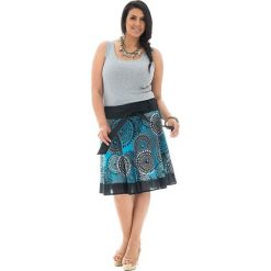 Odzież damska: Spódnica w kolorze niebiesko-czarno-szarym