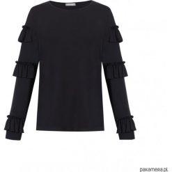 Bluzka w paski na długi rękaw. Czarne bluzki longsleeves marki Pakamera, w paski, z bawełny, klasyczne, z falbankami. Za 160,00 zł.