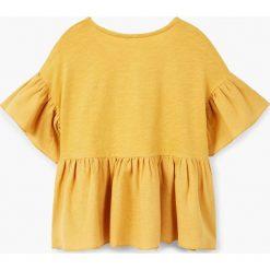 Mango Kids - Top dziecięcy Day 110-164 cm. Pomarańczowe bluzki dziewczęce bawełniane marki Mango Kids, z nadrukiem, z okrągłym kołnierzem. W wyprzedaży za 39,90 zł.