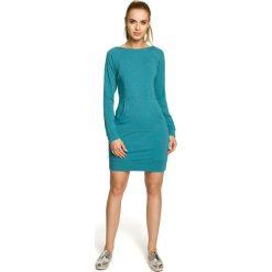 AUDREY Sukienka kangurka - szmaragdowa. Niebieskie sukienki dzianinowe Moe, na co dzień. Za 136,99 zł.
