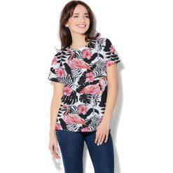 Colour Pleasure Koszulka damska CP-030 269 biało-czarna r. XXXL/XXXXL. Białe bluzki damskie marki Colour pleasure. Za 70,35 zł.