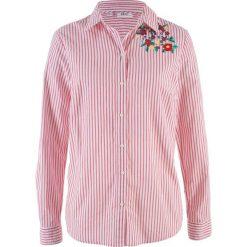 Bluzki damskie: Bluzka z długim rękawem i nadrukiem bonprix czerwono-biały w paski