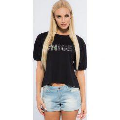 Czarny T-shirt z Cekinami 21105. Czarne t-shirty damskie Fasardi, l. Za 39,00 zł.