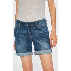 Mustang - Szorty. Niebieskie szorty damskie marki Mustang, z aplikacjami, z bawełny. W wyprzedaży za 179,90 zł.