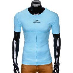 T-SHIRT MĘSKI Z NADRUKIEM S958 - BŁĘKITNY. Niebieskie t-shirty męskie z nadrukiem marki Ombre Clothing, m. Za 29,00 zł.