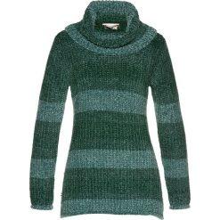 Golfy damskie: Sweter z golfem z szenili bonprix ciemnozielony