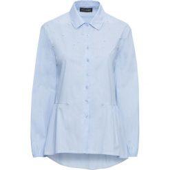 Bluzki damskie: Bluzka z perełkami bonprix niebiesko-biel wełny