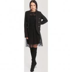 Czarna Sukienka Piece of cake. Czarne sukienki koronkowe other, uniwersalny, z okrągłym kołnierzem, mini. Za 89,99 zł.
