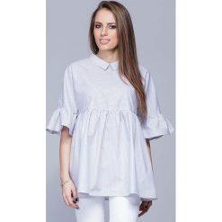Bluzki damskie: Luźna Wzorzysta Bluzka z Koszulowym Kołnierzykiem – Wzór 1
