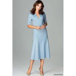 Sukienka K478 Niebieski. Niebieskie sukienki na komunię marki Pakamera, dekolt w kształcie v, midi. Za 179,00 zł.