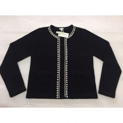 """Kardigan """"Diana"""" w kolorze czarnym. Czarne kardigany damskie marki Ateliers de la Maille, z kaszmiru. W wyprzedaży za 636,95 zł."""