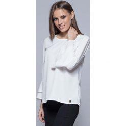 Bluzki, topy, tuniki: Ecru Elegancka Asymetryczna Bluzka z Hiszpańskim Rękawem