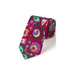 Krawat męski FOLK  w kwiaty łowickie czerwony. Czerwone krawaty męskie HisOutfit, w kwiaty, z materiału. Za 159,00 zł.