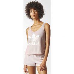 Bluzki asymetryczne: Adidas Koszulka damska LOOSE TREFOIL CROP TANK różowa r. 32 (BP9379)