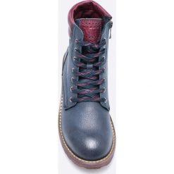 Marco Tozzi - Botki. Szare buty zimowe damskie Marco Tozzi, z materiału, z okrągłym noskiem, na obcasie, na sznurówki. W wyprzedaży za 129,90 zł.