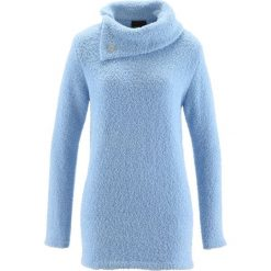 Sweter bonprix lodowy niebieski. Niebieskie swetry klasyczne damskie bonprix, z materiału, ze stójką. Za 74,99 zł.