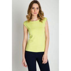 Bluzki asymetryczne: Pistacjowa bluzka z krótkim rękawem BIALCON