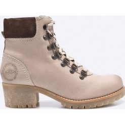S. Oliver - Botki. Szare buty zimowe damskie S.Oliver, z materiału, z okrągłym noskiem, na obcasie, na sznurówki. W wyprzedaży za 179,90 zł.