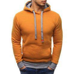 Bluzy męskie: Bluza męska z kapturem kamelowa (bx2046)