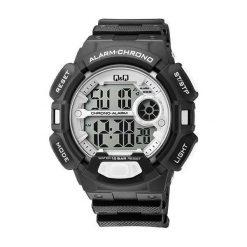 Zegarek Q&Q Męski M132-008 Stoper Alarm WR100 czarny. Czarne zegarki męskie Q&Q. Za 117,40 zł.