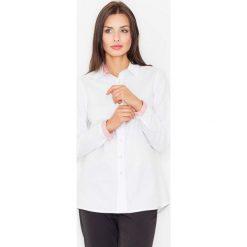 Paski damskie: Biało Czerwona Klasyczna  Koszula z Wykończeniami w Paski