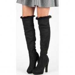 ZAMSZOWE MUSZKIETERKI Z FUTERKIEM. Czarne buty zimowe damskie SUPER ME, z zamszu. Za 128,00 zł.