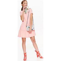 SUKIENKA Z KRÓTKIM RĘKAWEM Z FALBANĄ NA DOLE. Szare sukienki balowe marki Top Secret, na lato, z krótkim rękawem, mini. Za 69,99 zł.