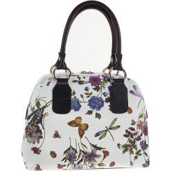 Torebki klasyczne damskie: Skórzana torebka w kolorze białym ze wzorem – 30 x 25 x 14 cm