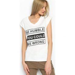 T-shirty damskie: Biały T-shirt Humbly