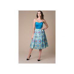 Sukienka koktajlowa Blue Moon. Niebieskie sukienki pastelowe marki Nat fashion room, w geometryczne wzory, z bawełny, z gorsetem, gorsetowe. Za 420,00 zł.