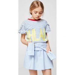 Mango Kids - Spódnica dziecięca Sleeve 110-164 cm. Szare spódniczki dziewczęce Mango Kids, w paski, z bawełny, mini. W wyprzedaży za 49,90 zł.